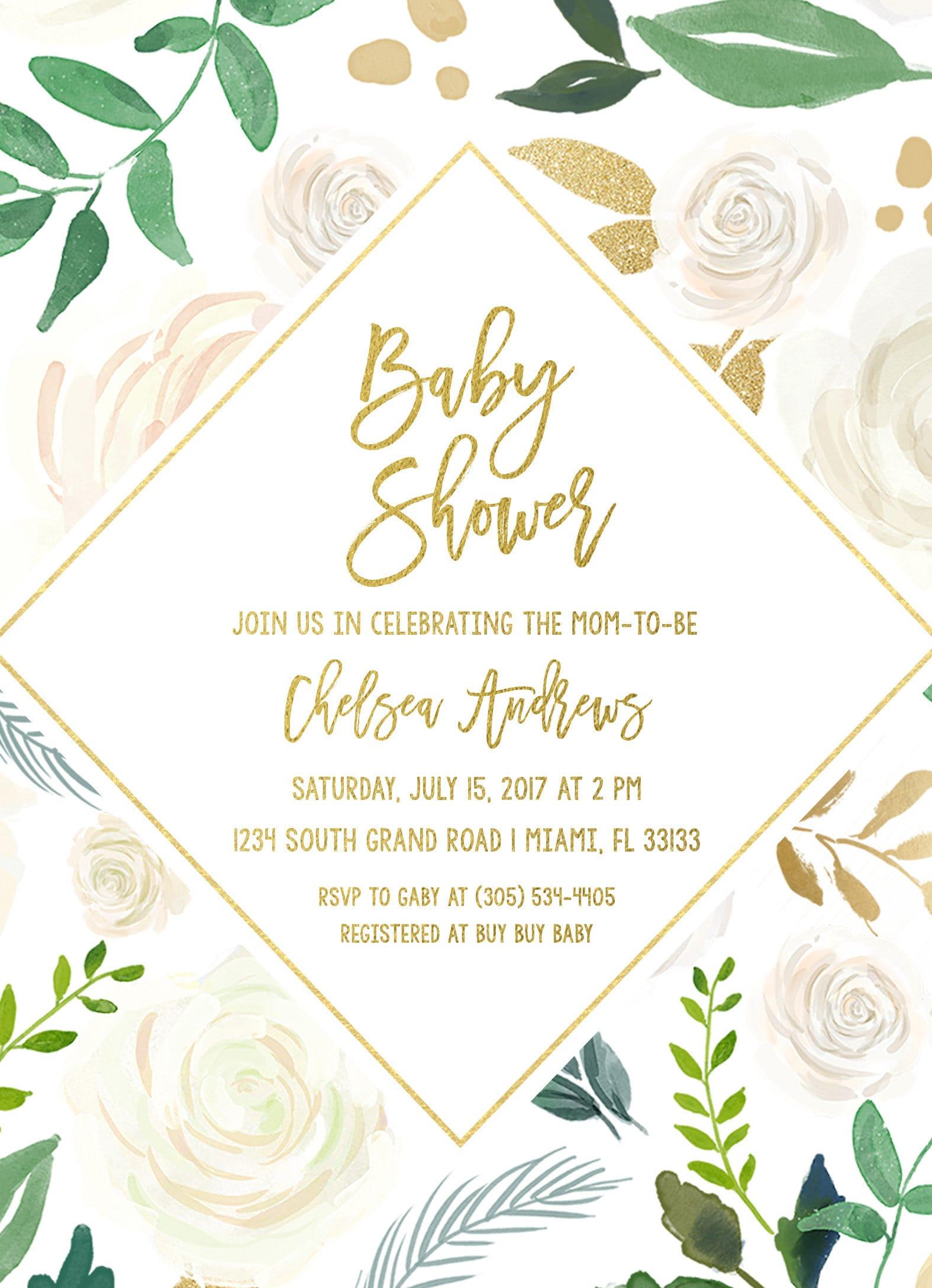 Baby Shower Brunch Invitation Gender Neutral Baby Shower Invitation