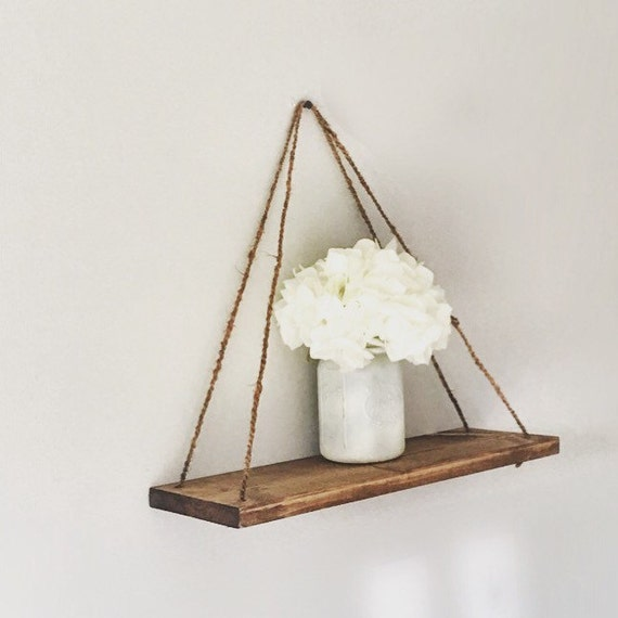 Hanging Shelf Rope Rustic Wood Shelf Floating Shelf