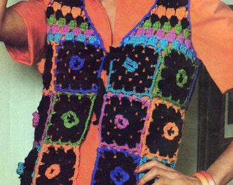 INSTANT DOWNLOAD  PDF Vintage Crochet Pattern Flower Granny Squares  Vest Waistcoat  Retro