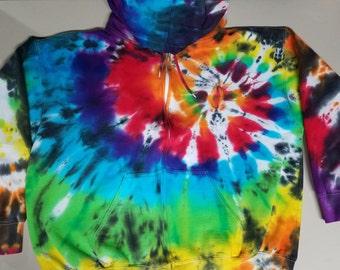 Tie Dye Zipper Hoody; Rainbow Spiral W/ Black