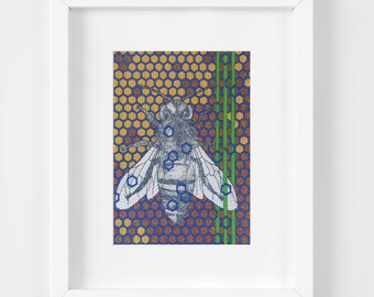 Honey Bee Print, 11x14, Insect Artwork, Honeycomb Design, Modern Home Decor, Geometric, Wildlife Artwork, Bee Keeper Gift, Blue Green Yellow