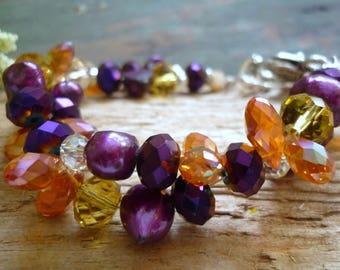 weaved freshwater pearl crystal , bracelet, genuine stone bracelet, crystal bracelet, freshwater pearl bracelet, purple freshwater pearl