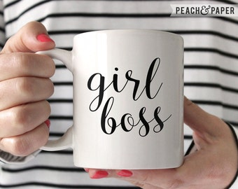 Girl Boss Mug White Ceramic Mug Inspirational Mug Inspirational Quote Boss Gift for College Student Gift College Dorm Decor Funny Coffee Cup