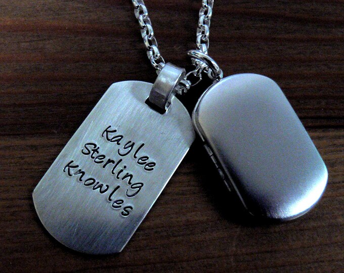 Custom Thick Sterling Silver Men's Locket and Dog Tag Necklace - Dogtag Style Pendant - Your Own Message, Photos and Choose from Many Fonts