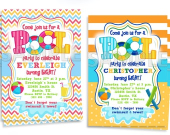 Pool Party Invitation, Printable Pool Party Invitation, Pool Birthday Party Invitation, Printable Pool Birthday Party Invitation