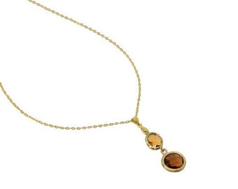 Topaz Pendant Necklace, Gold and Whiskey Quartz Pendants Necklace, , Dainty Gold Necklace, Gold Wedding Jewellery, Honey Crystal Necklace
