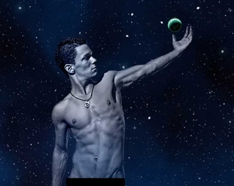 Star Light Star Bright Gay Art Male Art Nude Photo Print by Michael Taggart Photography stars starry night moon moonlight blue muscular abs