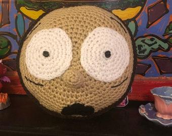 Crocheted character head pillow