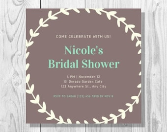 Brown and Mint Green Wreath Rustic Bridal Shower Invitation - Printable