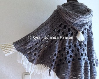 PATR1032 - Xyra Crochet-pattern - Poncho with sleeves and large hood - (Dutch & English-US)