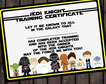 Wars certificate etsy starwars jedi knight certificate jedi training camp certificate instant download the force awakens star wars party star wars favor tag yadclub Image collections