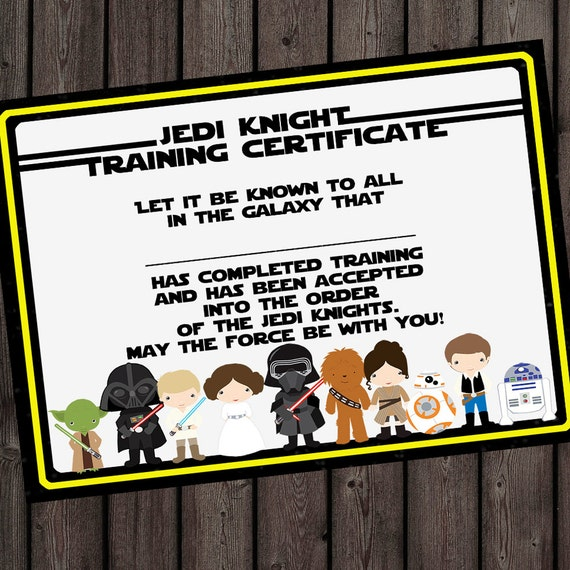 starwars jedi knight certificate jedi training camp