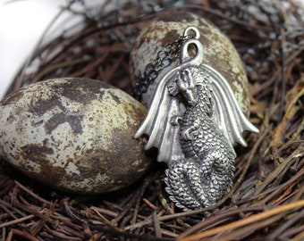 Dragon Necklace - Pewter Pendant and Oxidized Sterling Silver Chain Antiqued Sterling Silver Chain Dragon Jewelry