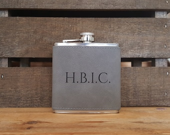 H.B.I.C. Gray 6 Oz. Laser Etched Faux Leather Stainless Steel Flask, Boss Flask, Boss Gift