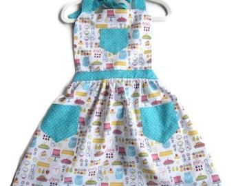 Kitchen Utensils Apron, Children Apron, Toddler Apron, Girl Apron, Baking Apron, Gift for Girls, Kid Apron, Little Girls Apron, Retro Apron