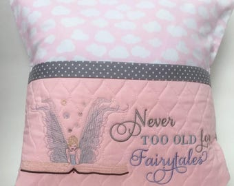 Reading pillow, Never Too Old for Fairytales, Pocket Pillow, Book Pillow, Book Fairy, Gift for book lover, Gift for her, Quilted pillow