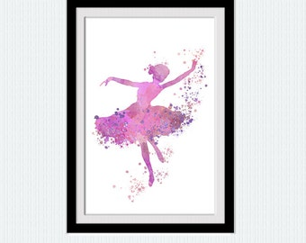 Ballet dancer print Ballet studio decor Ballerina watercolor poster Home decoration  Pink wall hanging art Kids room decor Gift for her W632