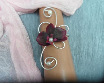 Bracelet for wedding - plum and silver with Orchid flowers
