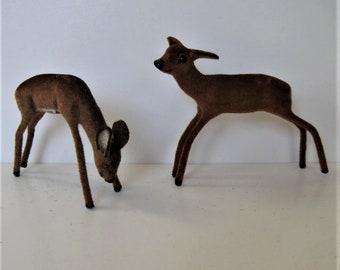 "2 vintage Wagner Kunstlerschutz flocked deer, miniature animals, reindeer, 3 1/2"" tall, Made in West Germany, instant collection,gift idea"