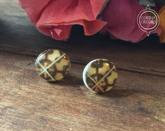 Portuguese, jewelry, Portuguese tile post earrings, North African and Berber influenced, tribal earrings