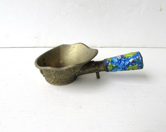 Chinese  Enamel Silk Iron - Incense Burner - Coal Scoop- Brass with Floral  Motif - Colored Enamel -