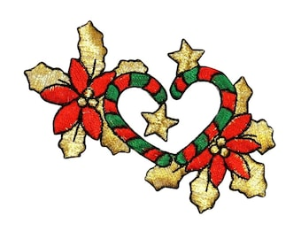 ID 8091 Candy Cane Heart Decoration Patch Christmas Embroidered Iron On Applique