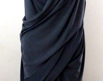 Gray sleeveless drape dress with cowl neck