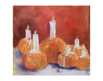 Original Watercolor * PUMPKINS With CANDLES * Small Art Format by Rodriguez