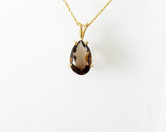 Gold Vintage Necklace, 14K Gold Mother's Day Jewelry, Smokey Quartz Necklace, Pear Necklaces