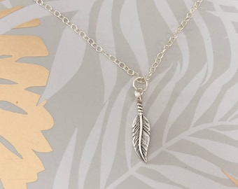 Dainty Sterling Silver Feather Pendant Necklace in a Gift Box, Bridesmaid Gift, Silver Feather Pendant, Silver Jewellery UK Jewellery Gift,