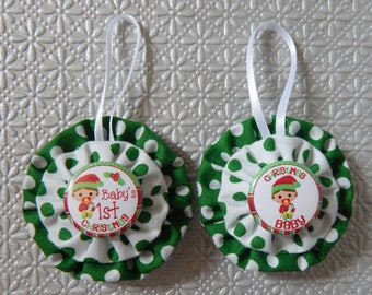 Baby's First Christmas Yo Yo Ornaments Set of 2 - Green and White Dots