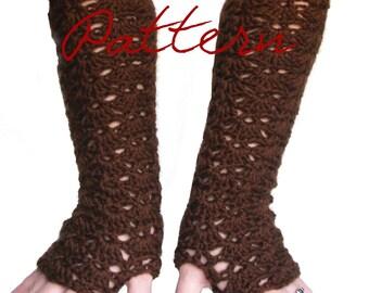 PDF Crochet Pattern: Elbow Length Lace Fingerless Gloves Long Opera Style
