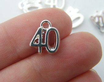 8 Number 40 charms silver plated