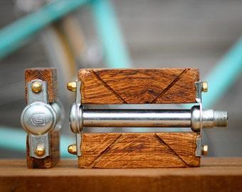 Wooden bicycle pedals custom. For urban bike, single speed, beach cruiser fixie ... Bike parts. wood bike pedal
