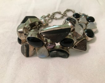 Handcrafted Bracelet of Onyx, Moonstone, Druzy, and Sterling Silver
