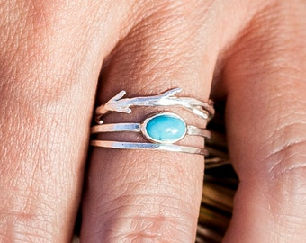 Turquoise & Twig Ring Set | Stacking Rings | Nature Inspired