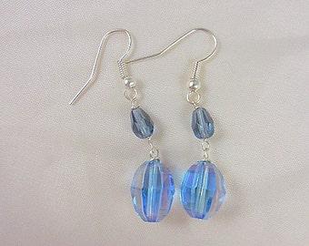 Blue Aurora Borealis Beaded Earrings