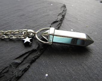 Silver Titanium Pendant with a Matching Star, Titanium Necklace, Alternative Necklace, Titanium Necklace, Unique Jewellery, Titanium