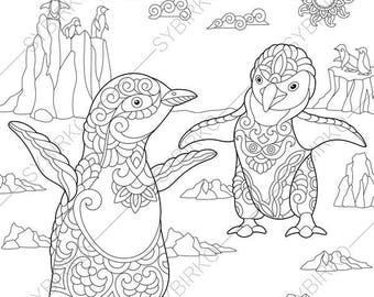Emperor Penguins. 3 Coloring Pages for Friendship day greeting cards. Animal coloring book pages for Adults. Instant Download Print