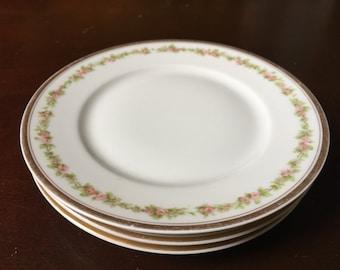 Haviland Limoges Dessert Plates Set of 3 France Pink Floral China