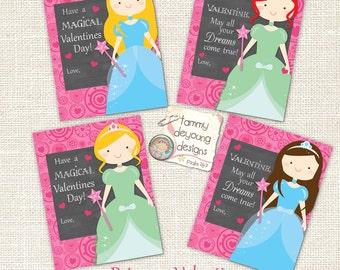 Valentine Day cards for kids, Princess Valentines for girls, school Valentine, Cinderella Printable Valentine tags, blonde, brunette, ginger