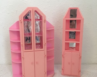 Sweet Roses, Vintage Barbie Furniture, Wall Unit and Curio Cabinet, 1980s Sweet Rose Furniture