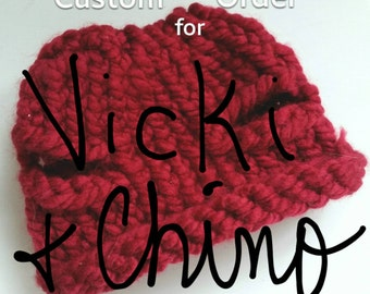 CUSTOM ORDER for Vicki: Chunky Knit Dog Beanie Hat Crimson Red Winter Accessories