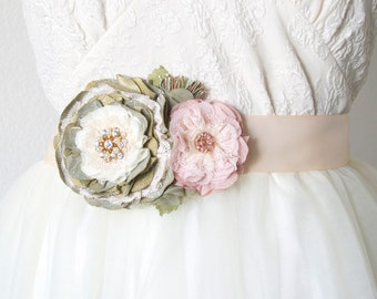 Wedding Sash - Bridal Sash - Bridal Belt - Wedding Dress Belt - Floral Bridal Sash - Fabric Flower Brooch- Pink and Green Wedding