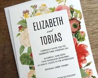 Printable Wedding Invitation - Lush Vintage Flowers - Floral Wedding Invitation - Wedding Invitation Template - Colorful Flowers Invite PDF
