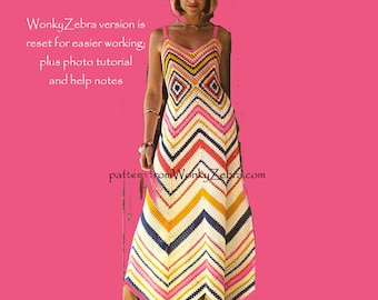 Zig Zag Dress by Mon Tricot Crochet Pattern PDF 657 from WonkyZebra