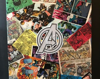Custom Comic Collage Art on Canvas - Avengers