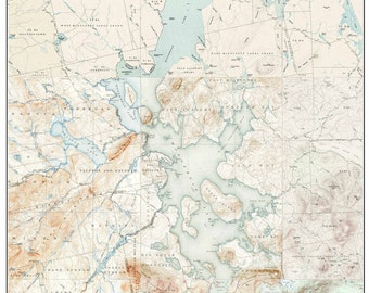 Moosehead Lake - ca 1922-1954 Old Topographic Map USGS    Custom Composite Reprint Maine