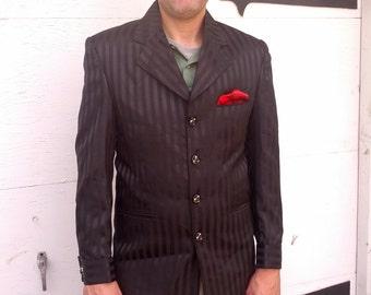 Vintage Black Stripe mens Tuxedo Gangsta Slimfit HipHop Blazer Sportcoat Size Medium