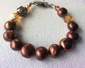 FREE SHIPPING Plump Bronze Pearl and Crystal Sterling Silver Bracelet